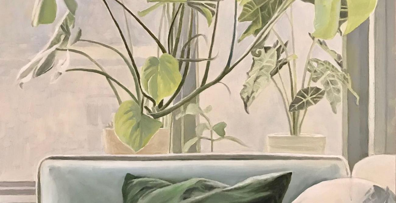 still life painting of a couch pillow and plant