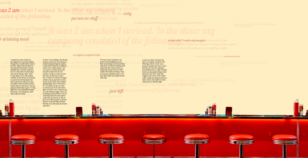 Narrative text floating above a bar.