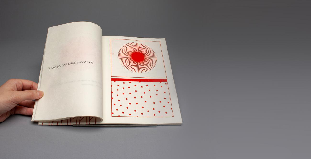 handmade book with red ink