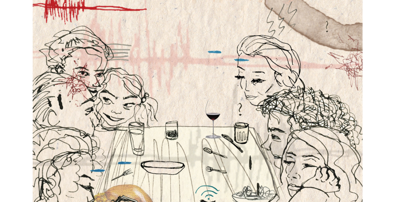 sketch of a family dinner