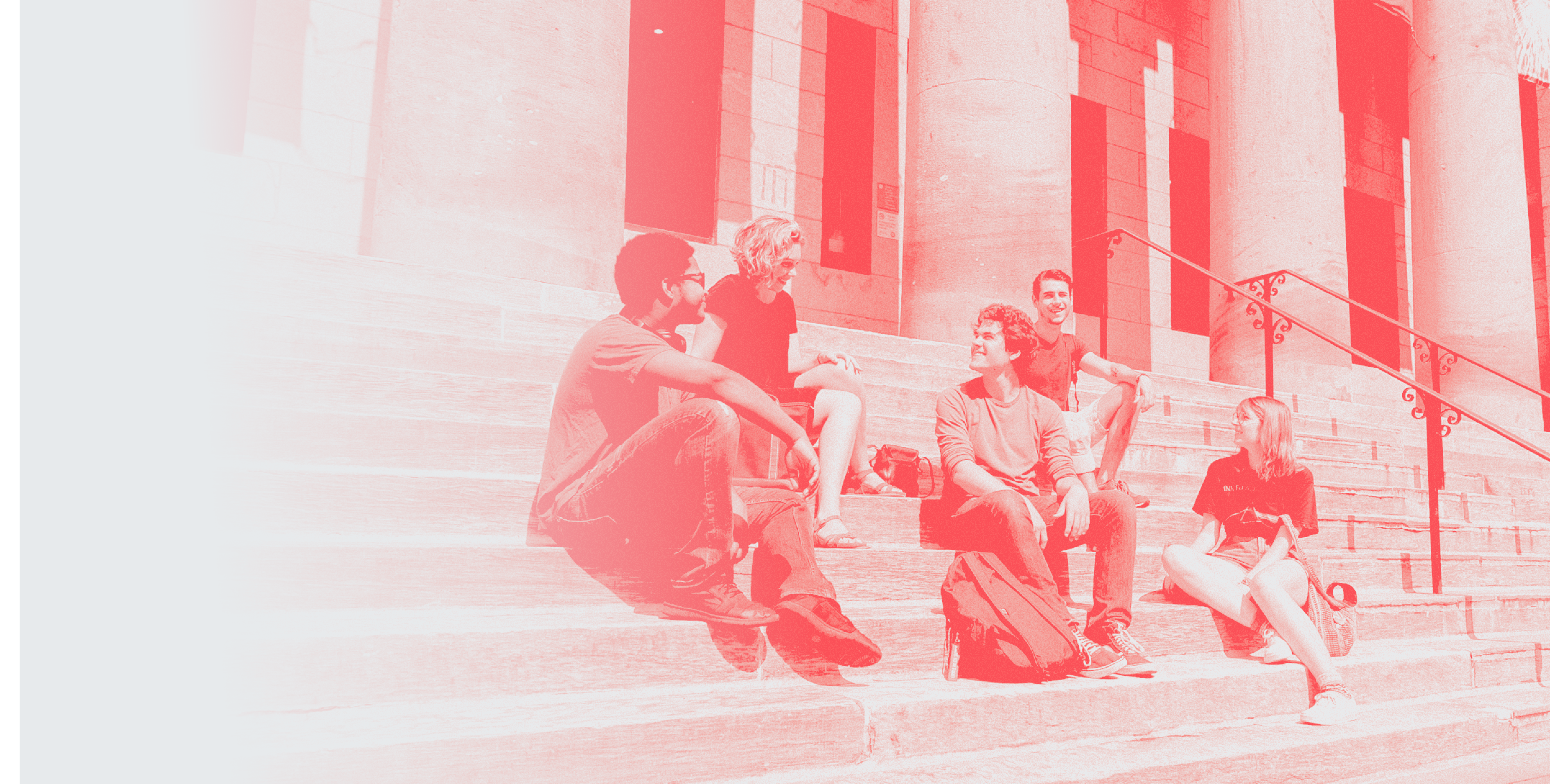 UArts students on the steps of Hamilton Hall with a red graphic overlay