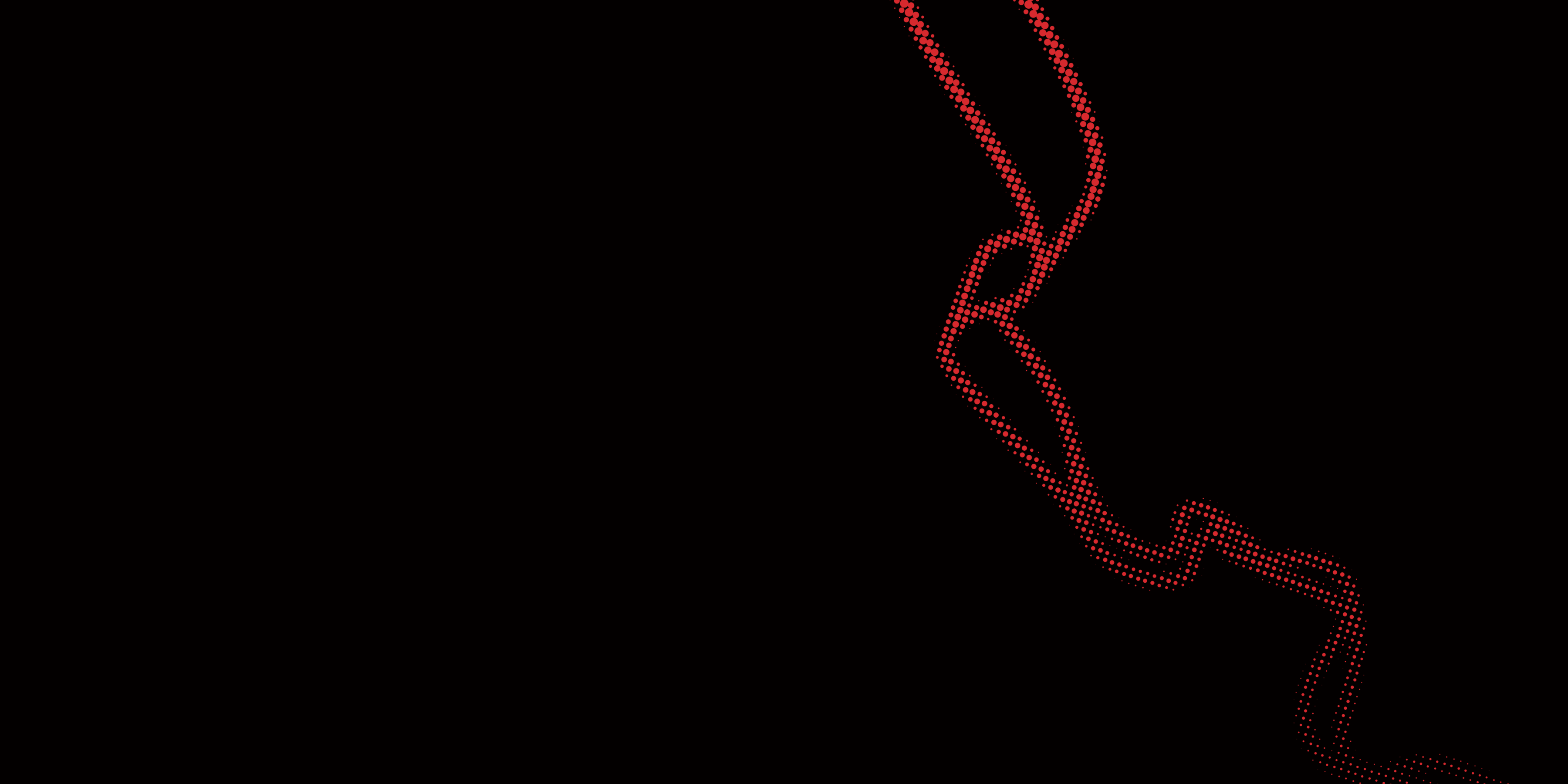 A black background with a red pixelated squiggle design
