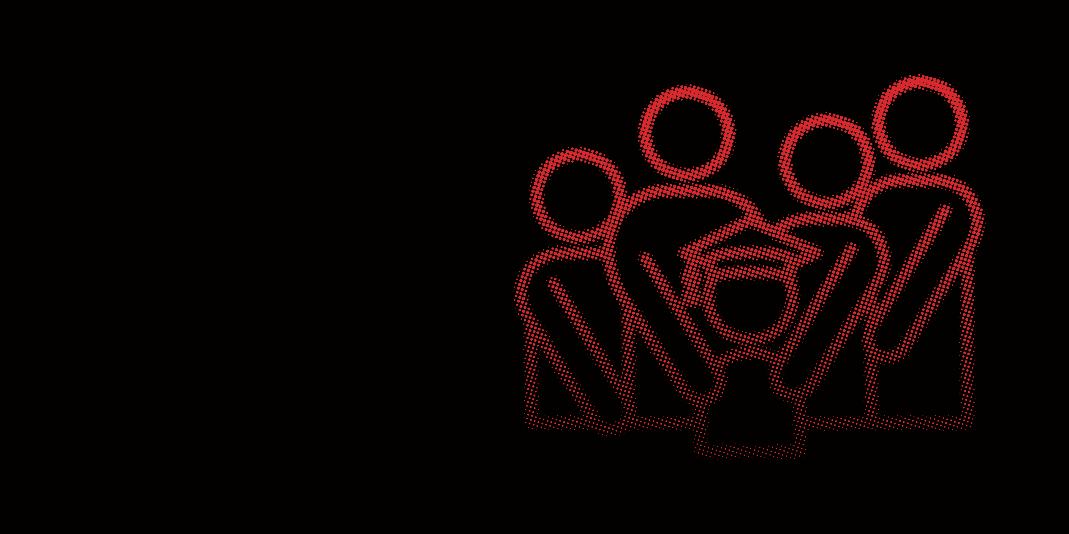 Red graphic icon of families surrounding graduate