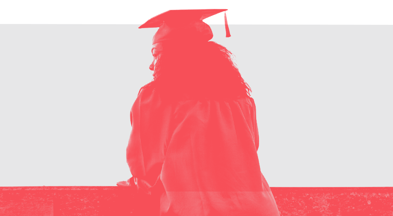 UArts student in cap and gown with a red filter applied